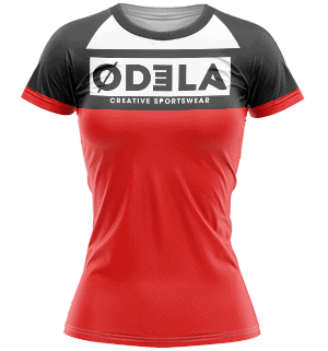 odela maillot femme col rond manches courtes raglans raquettes