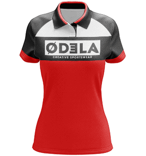 tenues de sports de cible en sublimation odela polo femme manches raglans